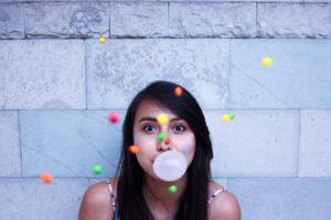 girl with bubble gum bubble