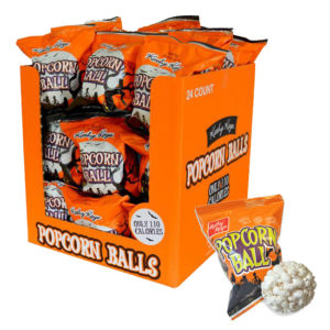 An Orange Box of Halloween Popcorn Balls | BlairCandy.com