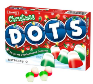 A Box of Christmas Dots in Red, White, and Green | BlairCandy.com
