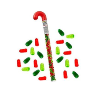 Red and Green Mike-&-Ike-Filled Plastic Candy Cane | BlairCandy.com