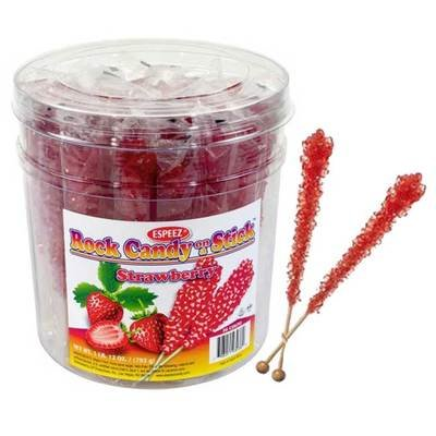 Red Strawberry Rock Candy Sticks in a Tub | BlairCandy.com