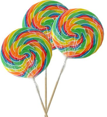 Three Jumbo-Sized Rainbow Swirly Lollipops | BlairCandy.com