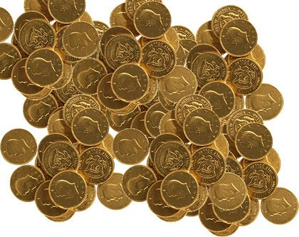 Chocolate Half Dollars Wrapped in Gold Foil | BlairCandy.com