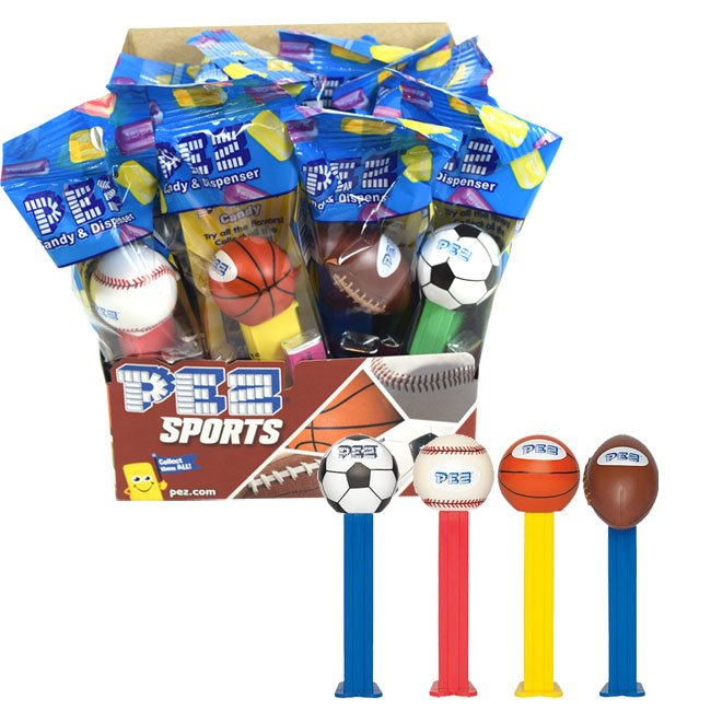 Sports Pez Candy Dispensers with a Soccer Ball, Baseball, Basketball, and Football | BlairCandy.com