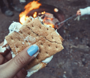 S'more up close with Campfire in the Background | BlairCandy.com