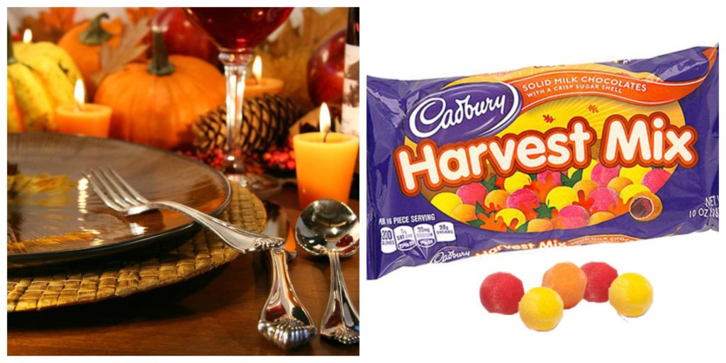 Collage with Thanksgiving Table Setting and Cadbury Harvest Mix | BlairCandy.com